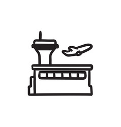 Plane taking off sketch icon vector