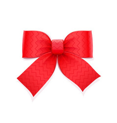 Red bow decorative element vector