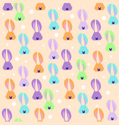 seamless easter pattern with colored rabbits vector image