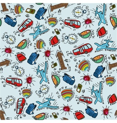 Seamless pattern with cartoon stuff for travelling vector