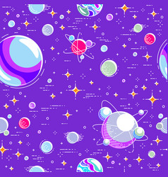 Seamless space background with planets stars vector