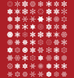 set different white snowflakes vector image