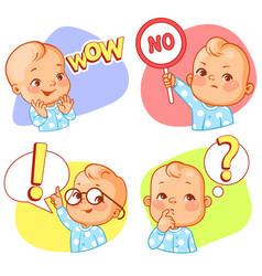 Set of baby stickers smiley emoji vector