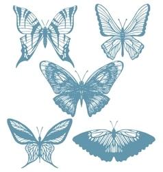 Set of hand-drawn butterflies vector