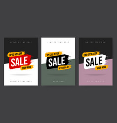 Set three template web banner in different colors vector