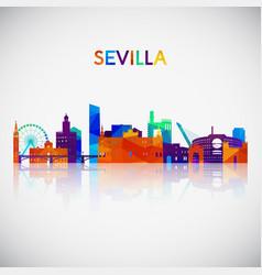 Sevilla skyline silhouette in colorful geometric vector