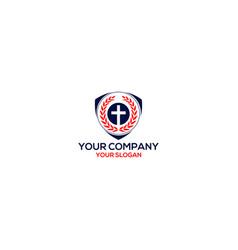 Shield church logo design vector