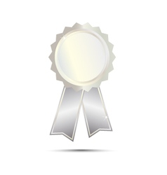 Silver Seal Award Ribbon on white background vector image