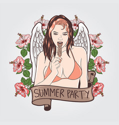 summer girl party vector image