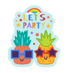 Summer party sticker cute pineapple in sunglasses vector