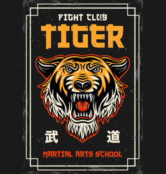 tiger head vintage colored poster on japanese vector image
