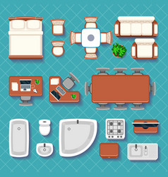 Top view interior flat icons vector