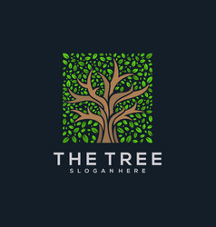 tree leaf square logo abstract vector image
