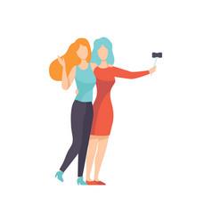 Two beautiful women friends making self photo vector