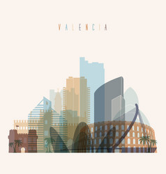 valencia skyline detailed silhouette vector image
