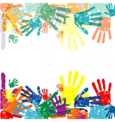 vector hand prints background vector image