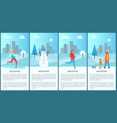 Wintertime set of placards on vector