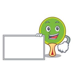 With board ping pong racket character cartoon vector