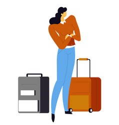 woman with suitcases girl waiting for flight in vector image