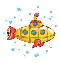 Yellow submarine icon cartoon style vector