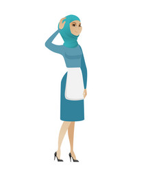 Young muslim cleaner scratching her head vector