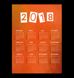 2018 simple business wall calendar with low vector image vector image