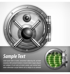 Bank vault on white text vector image vector image