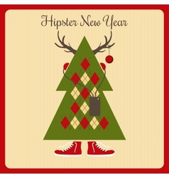 hipster a Christmas tree with accessories vector image