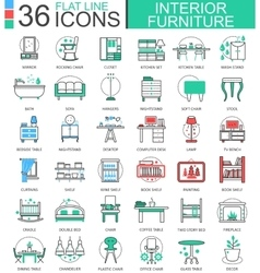 interior Furniture flat line outline icons vector image