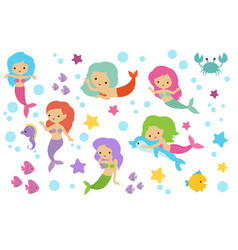 pretty swimming mermaids with underwater elements vector image vector image
