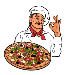 Sketch of smiling italian chef holding pizza in vector