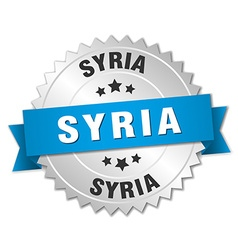 Syria round silver badge with blue ribbon vector image vector image