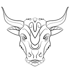 Vintage bull tattoo ink sketch vector image
