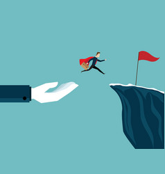 Big hand help businessman jump to red flag at vector
