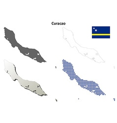 Curacao outline map set vector image