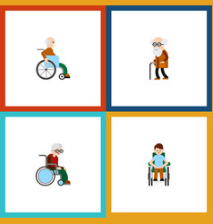 flat icon handicapped set of wheelchair disabled vector image