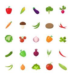flat vegetables set vector image