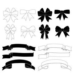 gift bow ribbon decoration icon set vector image