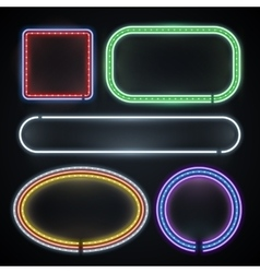 Illuminated neon borders empty frame signs new vector image