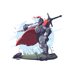Medieval knight in metal armor and helmet vector