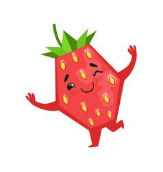 happy funny strawberry dancing cute cartoon emoji vector image