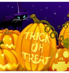 Pumpkin with the words trick or treat vector image