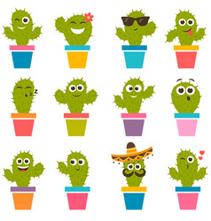 set of cute cactuses vector image