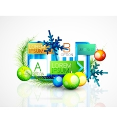 Abstract web message box with Christmas decoration vector image