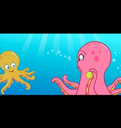 octopus playing ball vector image vector image