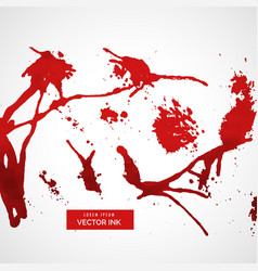 set of red splatter ink vector image vector image