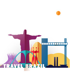 travel brazil paper cut world monuments vector image vector image