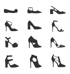 womens shoes flat design silhouette vector image