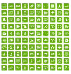 100 database and cloud icons set grunge green vector image