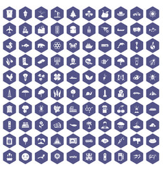 100 global warming icons hexagon purple vector